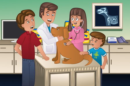 38627166 - a illustration of a veterinarian examining a cute dog