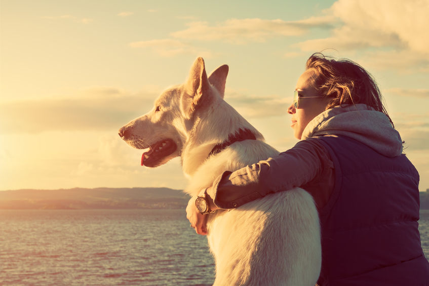 40208203 - young attractive girl with her pet dog at a beach, colorised image